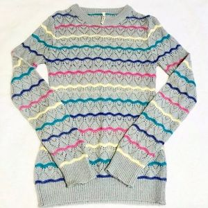 Rainbow Striped Gray Mohair Sweater Vintage
